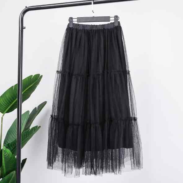 2019 nowy plisowana długa Tulle kobiety spódnice Mesh Tutu spódnica ołówkowa elastyczna wysoka talia Party projekt Ruffles spódnice DV572