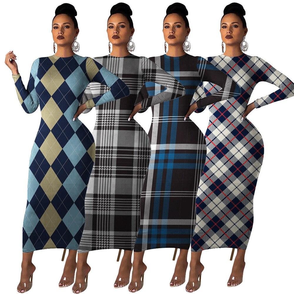 Классическое многоцветное платье в клетку для женщин