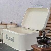 Vintage Bread Box Cupboard Iron Snack Box Desktop Finishing Dust Proof Storage Box Storage Bin Keeper Food Kitchen Shelf