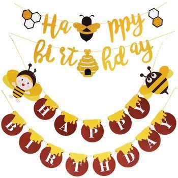 Baner urodzinowy motyw pszczół tło urodzinowe dekoracja Banner trznadel Garland pierwsze materiały urodzinowe