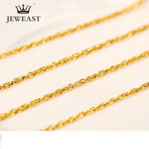 Image 1 - QA collier en or pur AU 24K, chaîne en or massif 999, brillante, Simple, haut de gamme, tendance, bijou fin fin, offre spéciale, nouvelle collection 2020