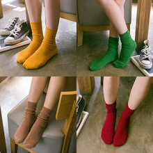 New Harajuku Women Cotton Sweet Short Boots Loose Socks For Winter In Tube Korean Pure Solid Candy Color Christmas Cute Sox(China)