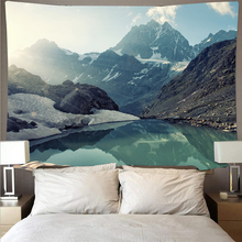 Mountain rolling lake scenery cheap tapestry art psychedelic wall hanging beach towel mandala decorative thin blanket