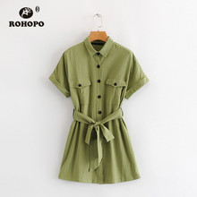 ROHOPO Autumn Belted Army Green Cotton Dress Top Pockets Buttons Fly Turn Down Collar Preppy Girl Tee Robe #8700
