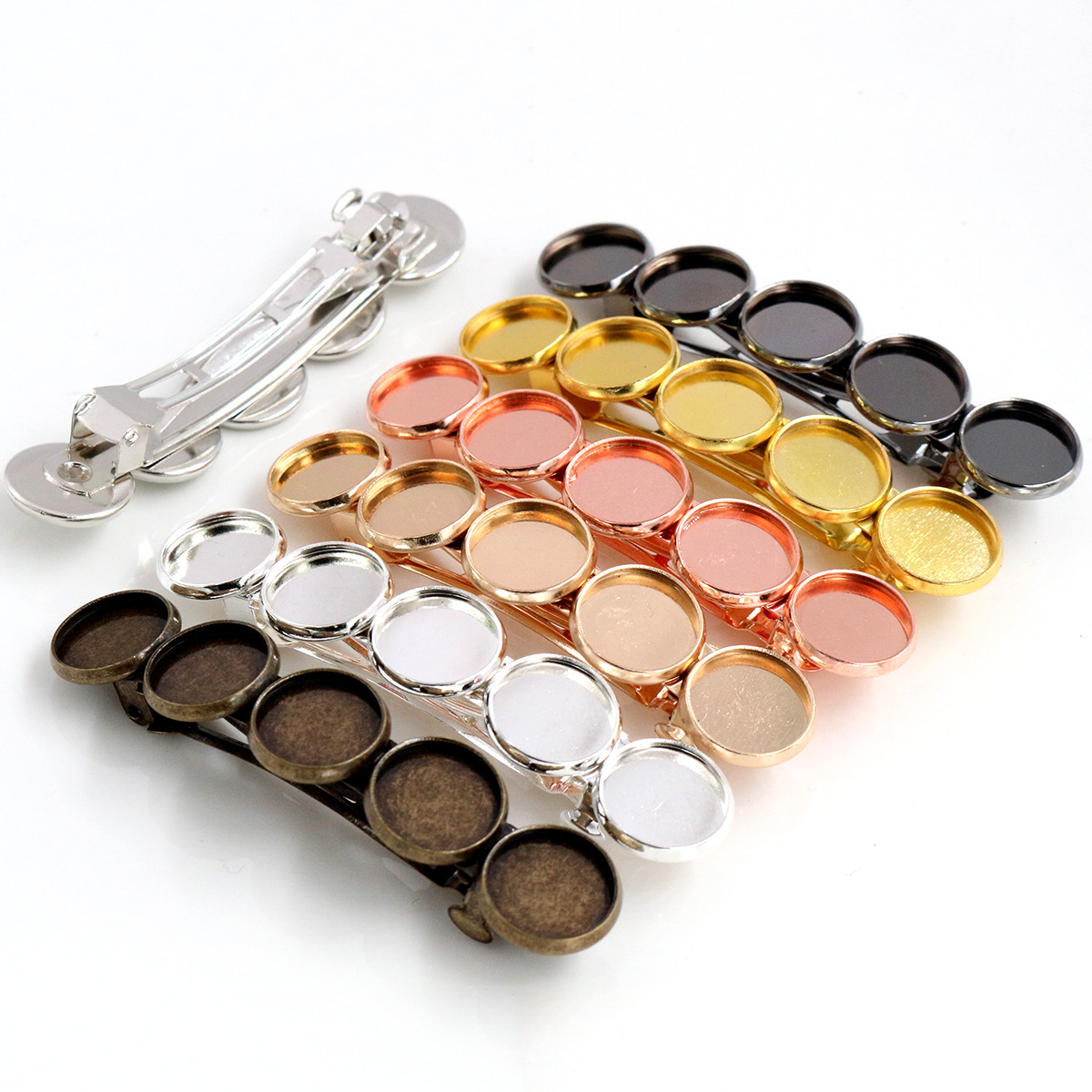 5pcs 12mm With 5 Cameo High Quality 7 Colors Plated Copper Material Hair Clips Hairpin Base Setting Cabochon Cameo