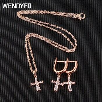 WENDYFO nuevo collar largo de Cruz mujeres niñas oro rosa circón cadena collares colgantes Religión Cristiana joyería de moda regalo