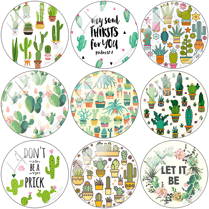 TAFREE 2019 NEW Simple Potted Cactus 12/15//16/18//20//25 mm Glass Cabochon Dome Flat Back DIY Jewelry Making CA59(China)