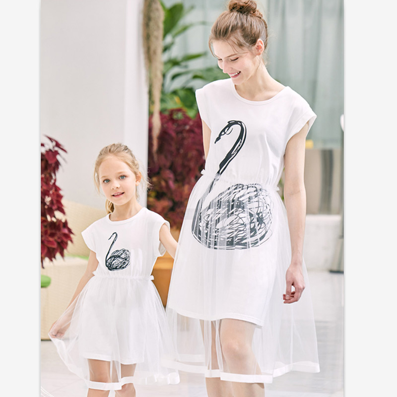 Mom And Daughter Dress Patchwork Mesh Princess Dress Mother And Daughter Clothes Family Look Mother Daughter Swan Pattern Dress