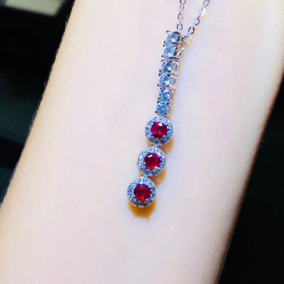 BOEYCJR 925 argent Sterling rubis collier chaîne bijoux énergie pierre gemme pendentif collier pour les femmes cadeau 2019