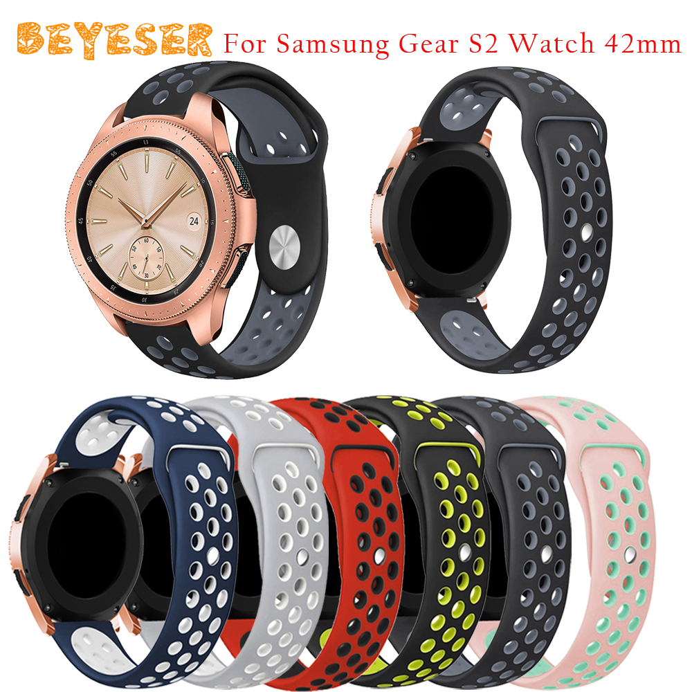 High quality Silicone watch band For Samsung Galaxy Watch 42mm Smart Watch strap replacement Double Color Round Hole bracelet