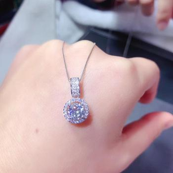 moissanite necklace, 1 carat gem, can be detected by instrument, 925 Sterling silver, popular Necklace