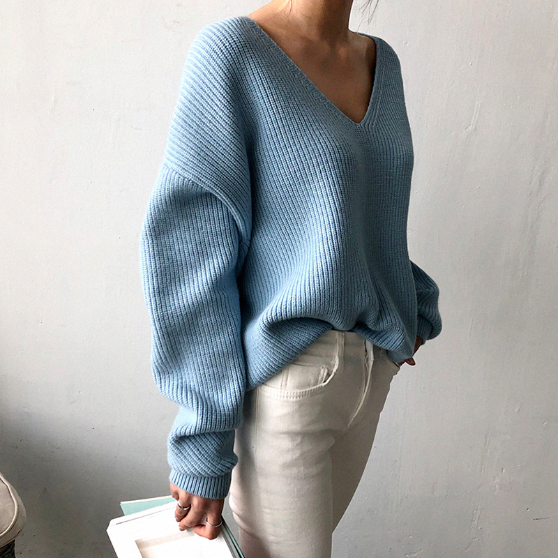 Image 3 - TWOTWINSTYLE Knited Korean Autumn Sweater For Women V Neck Long 