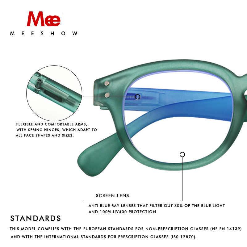 MEESHOW Anti blue ray lunettes de lecture hommes femmes lunettes de vue vert presbytie ronde avec dioptrie français 1513 + 1.5 + 2.0 + 2.5