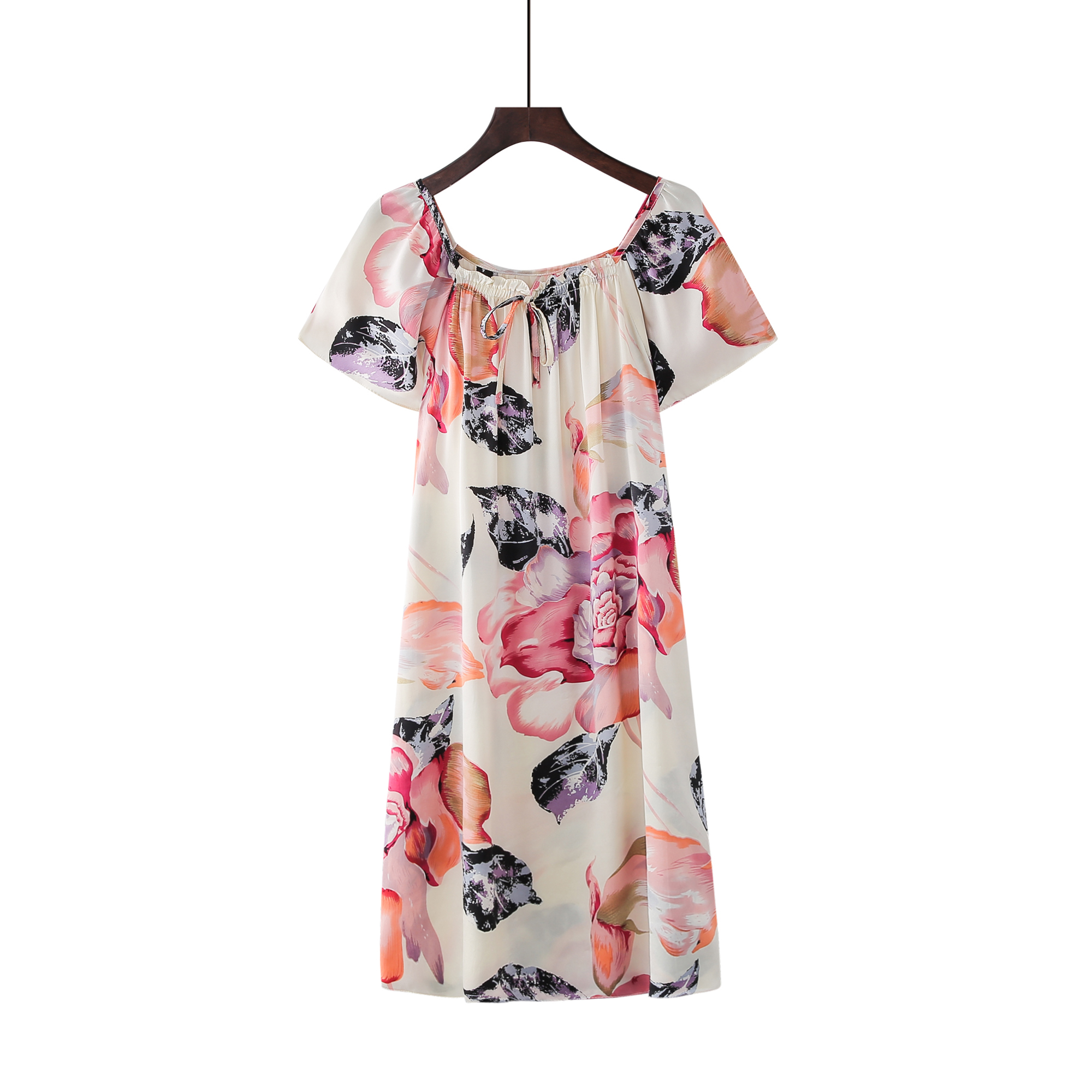 Free shipping 100% Pure Mulberry Floral Silk Nightgown Classic Nightwear Soft Sleepwear Summer Dress Multicolor Free Size