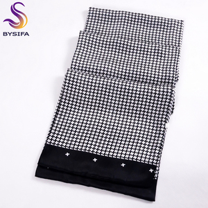 Image 3 - [Bysifa] Mannen Zwarte Goud Zijde Sjaals Winter Mode Accessoires 100% Natuurlijke Zijde Mannelijke Plaid Lange Sjaals Das 160*26Cm
