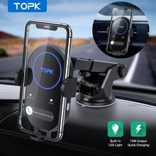 Topk carregador automotivo sem fio, carregador wireless para iphone 11 samsung xiaomi 15w, suporte para carros, indução rápida, carregamento com celular para carro suporte