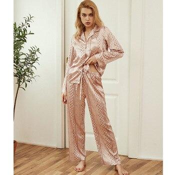 Sleeve Female Thin Home Clothes Fashion Nightwear 2020Autumn Women's Pajama Sets Silk Sexy Sleepwear Diamond Design Pyjama Long 1