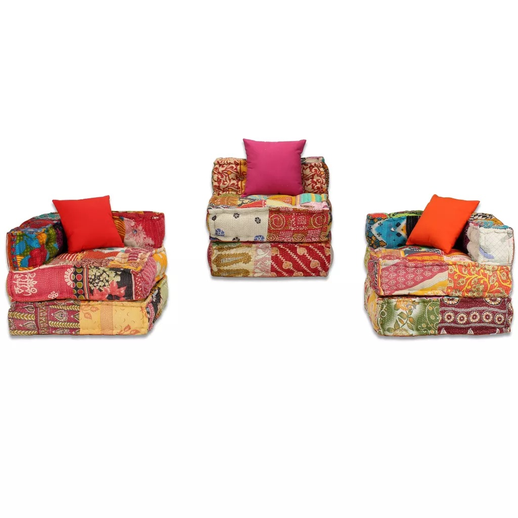 VidaXL 3-Seater Sofa Set Living Room Furniture Exotic Style Fabric Patchwork Sofa Bed Free Combination Living Room Sofa