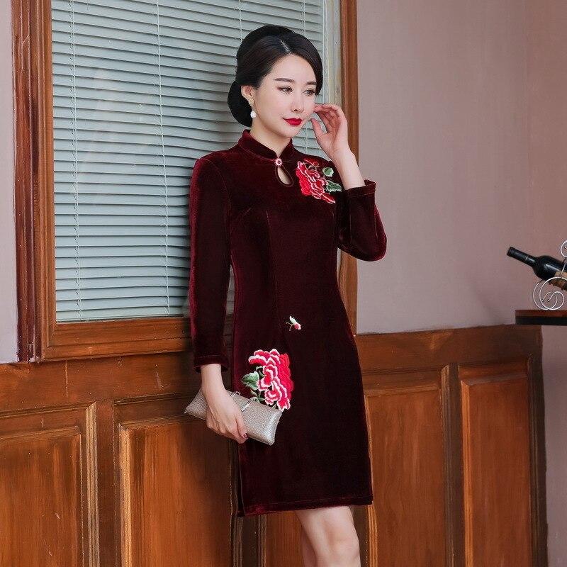Vestido De Debutante Rushed Add Upset The New Winter 2020 Pleuche Slim Skirt Retro Improved Mother Nine Points Short Sleeve