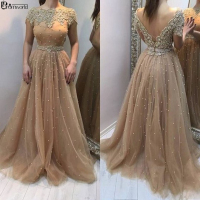 Champagne 2019 Evening Dresses With Short Sleeves Crystal Pearls Deep V Back Formal Gowns For Wedding Party Vestido De Festa