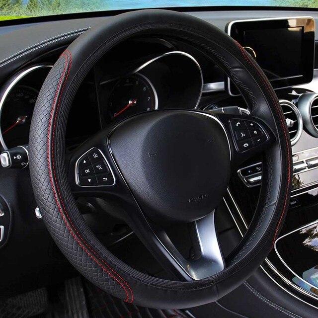 Универсальный чехол рулевого колеса автомобиля Противоскользящий чехол на руль, противоскользящий кожаный чехол с тиснением, автомобильные аксессуары 2