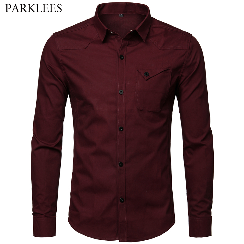 Brand <font><b>Wine</b></font> <font><b>Red</b></font> Men Dress <font><b>Shirts</b></font> 2019 Fashion Cotton Men Long Sleeve Business Work <font><b>Shirt</b></font> Men Casual Slim Fit Mens Chemise Hombre image