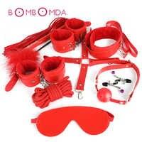 Adult SM Sex Toy 10 Pcs/set Game Leather BDSM Bondage Sex Kits Set Hand Cuffs Whip Rope Mask Fetish Restraints For Women Couples