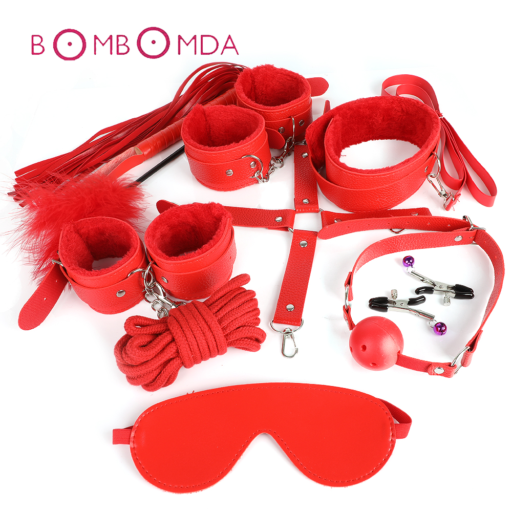 Adult SM <font><b>Sex</b></font> Toy 10 Pcs/set Game Leather BDSM Bondage <font><b>Sex</b></font> Kits Set <font><b>Hand</b></font> Cuffs <font><b>Whip</b></font> Rope Mask Fetish Restraints For Women Couples image