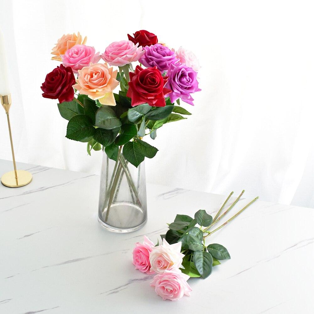 7 шт. настоящая сенсорная Роза, стволовые латексные розы, ручная работа, искусственный силикон, искусственные цветы розы, для дома, свадьбы