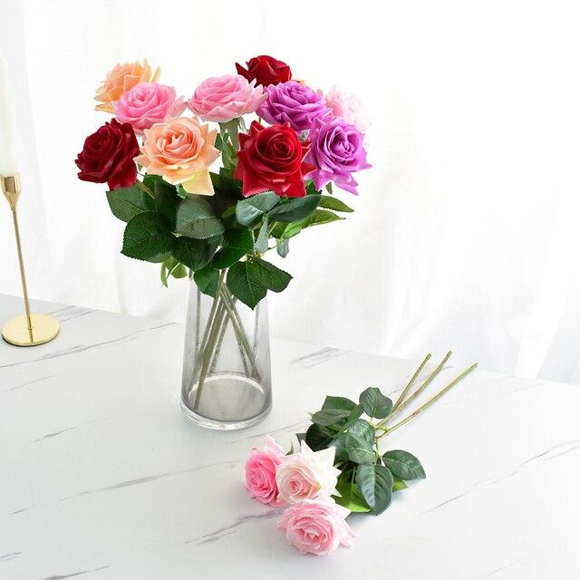 7 Uds. De rosas de látex con toque Real, tallo de Rama, rosa, decoración de imitación de fieltro, rosas artificiales de silicona, flores para el hogar y la boda