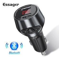 Essager-cargador de coche con Bluetooth 5,0, transmisor FM, modulador Aux, reproductor MP3 de Audio manos libres, cargador de telefono de coche USB 3.1A