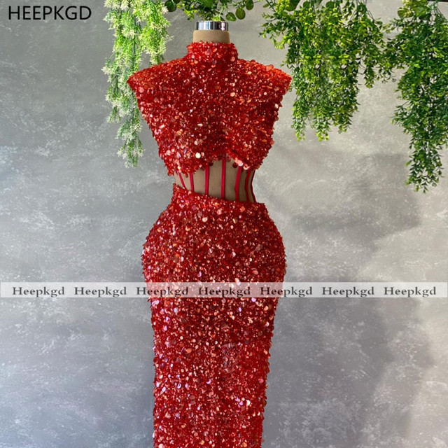 Sparkly Red 2021 Prom Dresses Illusion Sheath High Neck Sequins Black Girls Graduation Wedding Party Prom Gowns Plus Size 3