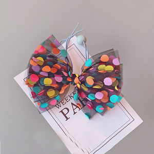 Image 5 - 8pcs/set Colorful Dot Mesh Hair Bows for Girls Multi layer Kids Hair Clips Beautiful HairPin Handmade Hairgrips Hair Accessories