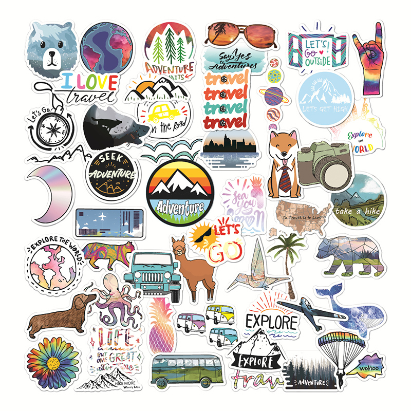 50pcs Outdoor Travel Graffiti Cartoon Stickers For Car Case Suitcase Guitar DIY Laptop Helmet Chidren Toy Decals Stickers F4