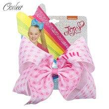 Oaoleer Hair Accessories jojo siwa 7 Inch JOJO BOWS for Girls Print Ribbon Hairgrips Valentines Day Handmade Kids Headwear