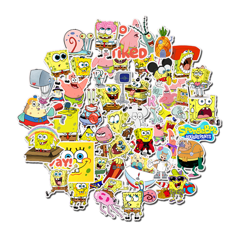 50Pcs Pack SpongeBob Stickers Cartoon Graffiti Funny For Kids Motorcycle Notebook Laptop Luggage Bicycle Pegatinas Skateboard