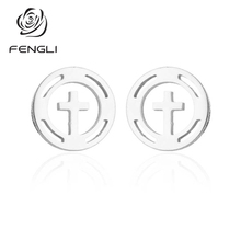 FENGLI New Fashion Classic Cross Earrings for Women Girl Kids Statement Hollow Round Geometric Stud Earring Jewelry