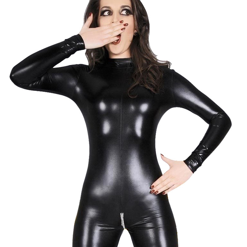 Image 2 - Sexy Faux Leather Lingerie Bodysuit Women Latex pvc catsuit Open Crotch Costumes fetish Wear Hot Erotic Clubwear Plus Size XXXL-in Teddies & Bodysuits from Novelty & Special Use