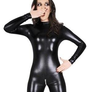 Image 2 - Sexy Faux Leather Lingerie Bodysuit Women Latex pvc catsuit Open Crotch Costumes fetish Wear Hot Erotic Clubwear Plus Size XXXL