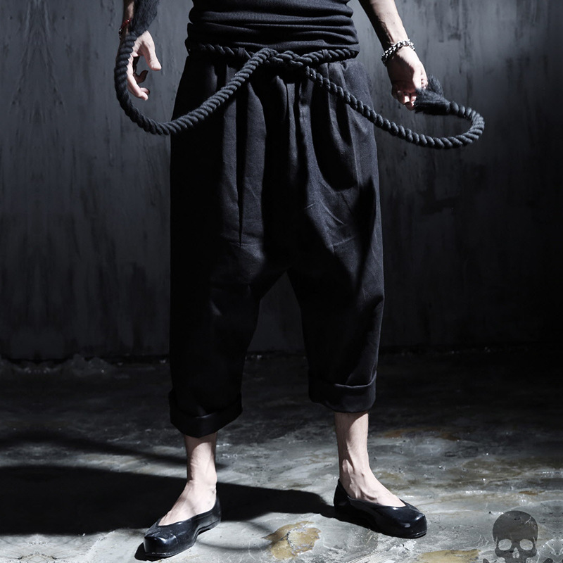 Hot Selling Special Offer Men England Dark Rock And Roll Retro Linen Pant Chunky Auxiliary Bracing Harem Pants