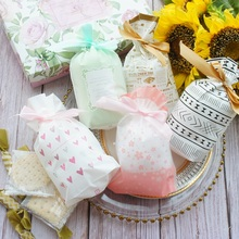 12*17cm 50pcs Small Flower Heart 5 Style Bag with Ribbon Cookie Snacks Gift Packaging Party Birthday Wedding Favor Decoration