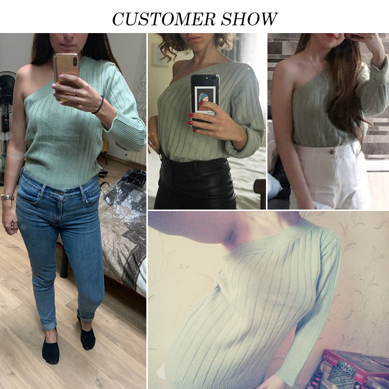 Image 2 - Misswim Sexy one shoulder knitted sweater female Autumn winter jumpers ladies pullover Ribbed green sweater women 2019 knitwear-in Pullovers from Women's Clothing
