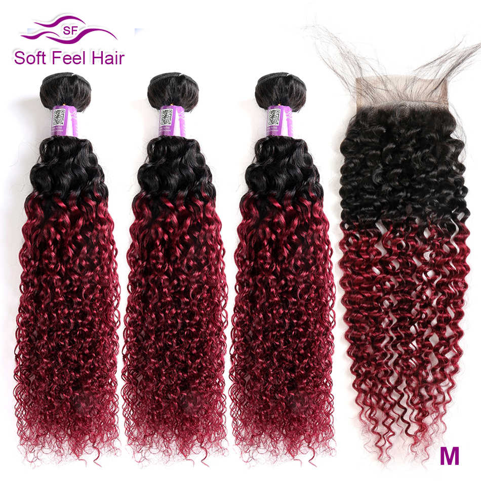 Soft Feel Hair T1B/Burgundy Ombre Bundles With Closure 99J Brazilian Kinky Curly Hair Bundles With Closure Red Remy Human Hair