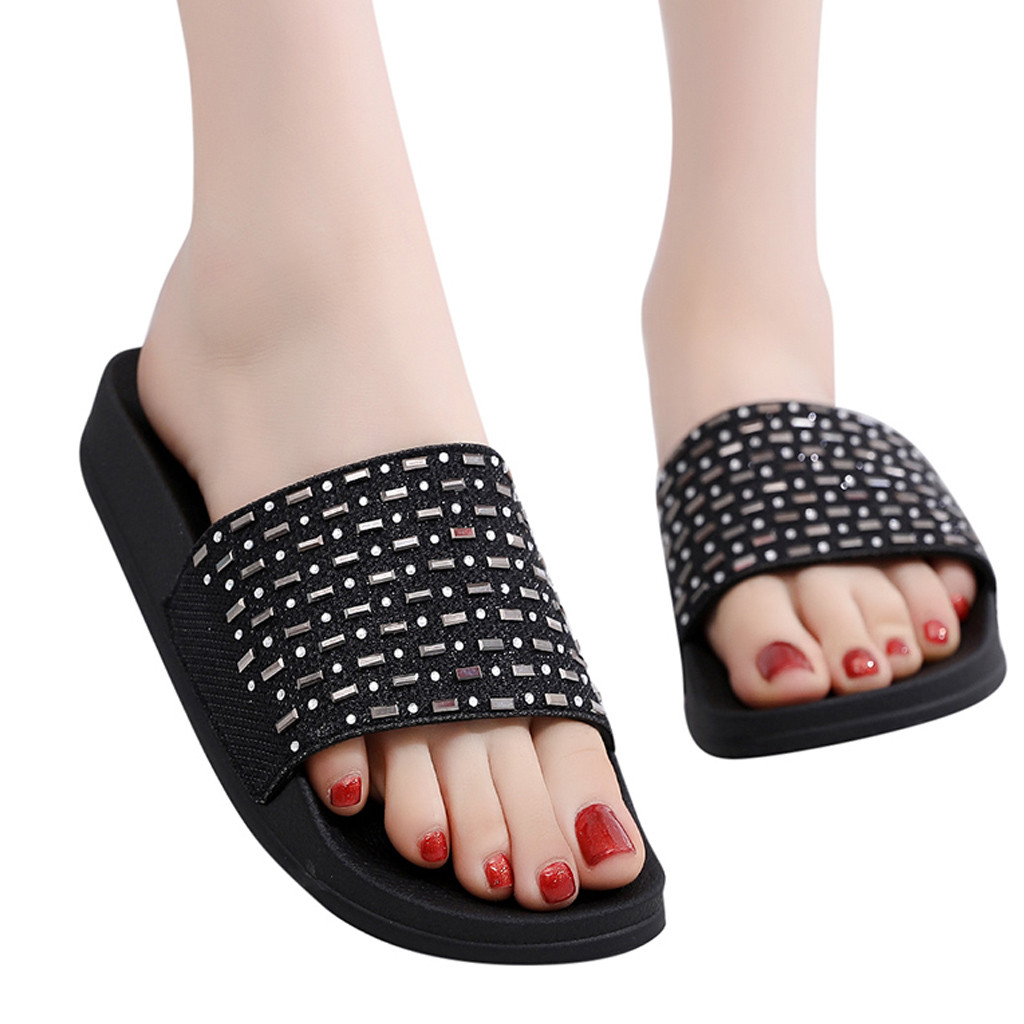 Sleeper #401 2019 NEW FASHION Summer Women's Sequins Flat Soft Slippers Non-Slip Rhinestone Sandals Beach Shoe Free Shipping