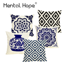 Plaid Printed Linen Cotton Cushion Cover Home Decor Geometric Flower Throw Pillow Cover Square Decorative Pillowcase for Sofa harry styles decorative pillowcase harry cushion cover cotton linen throw pillows sofa pillow home decor