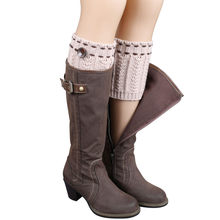 1 Pair Knitted Leg Warmers Socks Boot Cover Short Wheat Dotted Socks Stockings unisex college style Fashionable wild boots socks(China)