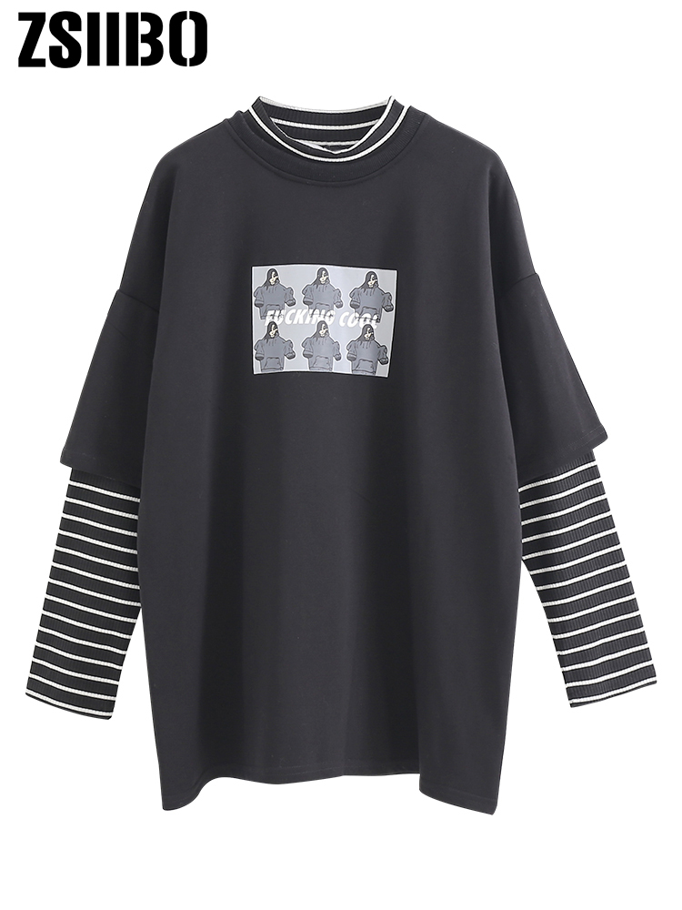 2020 ZSIIBO T-shirt Long-sleeved Kawaii Vintage Striped Long-sleeved Casual Top