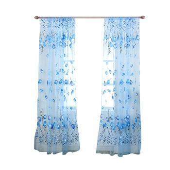100x200cm ventana Pantalla de cortinas borla Floral impresión tul Voile puerta bufanda falda de cortina para dormitorio Sala decoración del hogar