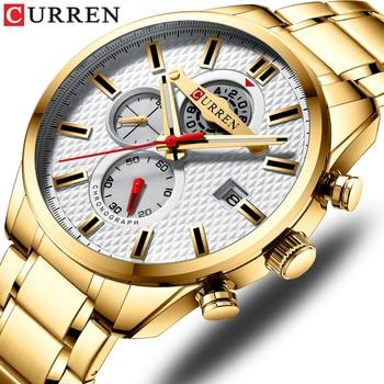 CURREN 8352 Fashion Mens Watches Quartz Clock Gold Watch Men Waterproof Sport Chronograph