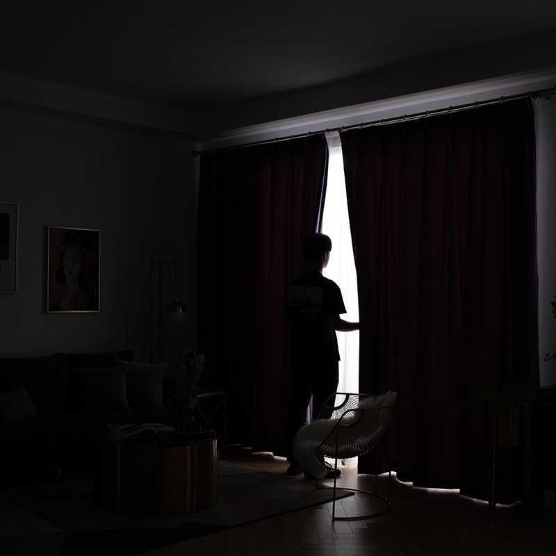 Europese Stijl Paars Fluwelen Gordijn Voor Woonkamer Slaapkamer Nieuwe Custom Nordic Eenvoudige Moderne Verduisterende Gordijnen
